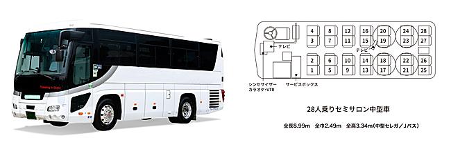 中型観光バス(28人乗り)